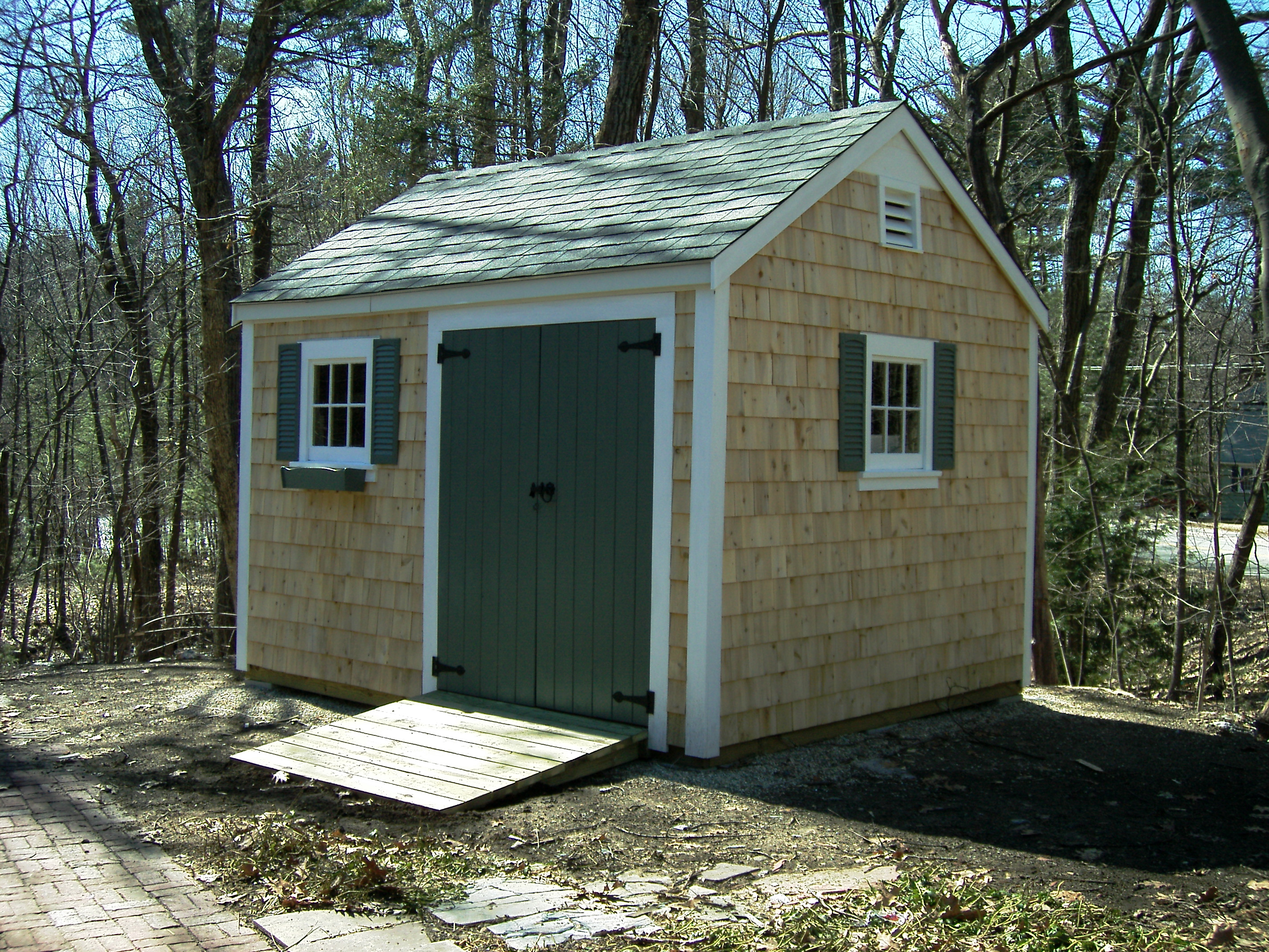 12x20 Custom Gable Style Shed Plainville Mass. ( 2008 ). Full resolution  snapshot, nominally Width 2848 Height 2136 pixels, snapshot with #3F7C8C.